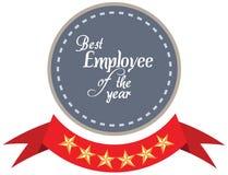 Vektorpromoetikett av den bästa anställdserviceutmärkelsen av året Arkivfoton