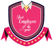 Vektorpromoetikett av den bästa anställdserviceutmärkelsen av året Royaltyfri Fotografi