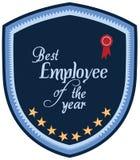 Vektorpromoetikett av den bästa anställdserviceutmärkelsen av året Arkivbilder