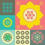 Vektorprydnad från blommalotusblommasymboler Arkivbilder
