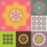 Vektorprydnad från lotusblommablommasymboler Arkivbild
