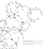 Vektorpunkter som förbinder cirkelbakgrund Geometrisk abstraktiondesign med linjer och punkter stock illustrationer