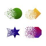 Vektorquadrat-, -kreis-, -stern- und -polygonzerstörungsformen mit dem Rückstand lokalisiert auf weißem Hintergrund stock abbildung