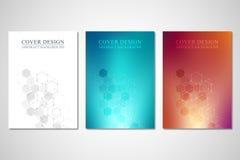 Vektorräkningar eller broschyr för medicin, vetenskap och digital teknologi Geometrisk abstrakt bakgrund med sexhörningar stock illustrationer