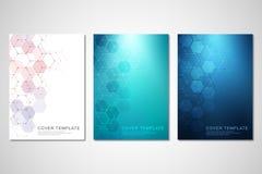 Vektorräkningar eller broschyr för medicin, vetenskap och digital teknologi Geometrisk abstrakt bakgrund med sexhörningar royaltyfri illustrationer