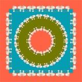 Vektorräkningsdesign Fyrkantig Head halsduk med den blom- prydnaden Vektordesign av tegelplattan, matta, bordduktyg, kudde, kudde royaltyfri illustrationer