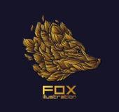 Vektorräv eller Wolf Design Icon Logo Luxury guld Arkivbilder
