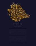 Vektorräv eller Wolf Design Icon Logo Luxury guld Affärsvektor för presentation Template Arkivbild