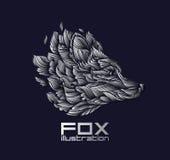 Vektorräv eller Wolf Design Icon Logo Luxury silver Royaltyfria Bilder