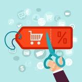 Vektorrabatt- och försäljningsbegrepp i plan stil Fotografering för Bildbyråer