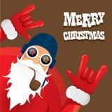 Vektorradfahrer Weihnachtsmann mit Pfeife Stockbild