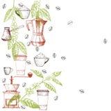 Vektorrahmen mit Kaffee stock abbildung