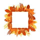 Vektorrahmen mit von Hand gezeichnetem Herbstlaub Stockbilder