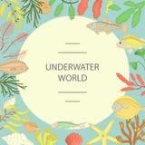 Vektorram av fisken, havsväxter, skal royaltyfri illustrationer