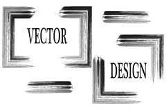 Vektorram för din text som målas med konstborsten Isolerad grungetextur Suddmålarfärg royaltyfri illustrationer
