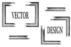 Vektorram för din text som målas med konstborsten Isolerad grungetextur Suddmålarfärg Royaltyfria Foton