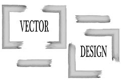 Vektorram för din text som målas med konstborsten Isolerad grungetextur Suddmålarfärg Arkivfoto