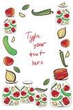 Vektorram med grönsaker Arkivbild