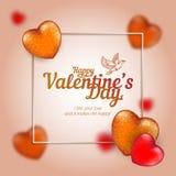 Vektorram med guld- och röda hjärtor till den lyckliga dagen för valentin` som s består av polygoner och punkter med flygduvan Arkivbilder
