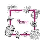 Vektorram med hand drog honungbeståndsdelar royaltyfri illustrationer
