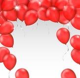 Vektorram som göras av röda skinande ballonger på vit bakgrund med Arkivbild