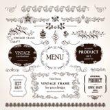 Vektorramar och calligraphic beståndsdeluppsättning för design Royaltyfri Bild