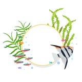 Vektorramgräns med färgrika fiskar och alger royaltyfri illustrationer
