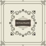 Vektorrammall Kort för tappningprydnadhälsning Krusidullar smyckar den Retro kungliga lyxiga inbjudan, certifikat stock illustrationer