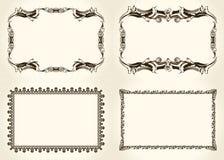 Vektorramuppsättning Utsmyckade och tappningdesignbeståndsdelar Arkivbild