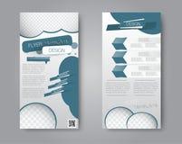 Vektorreklamblad- och broschyrdesign Uppsättning av två sidobroschyrmallar royaltyfri illustrationer