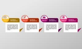 Vektorrektangel som är infographic med symboler Affären diagrams, presentationer och diagram Bakgrund Royaltyfri Bild