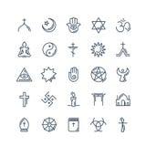 Vektorreligionsymboler ställde in tunn stil royaltyfri illustrationer