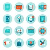 Vektorrengöringsdukutveckling och digitala marknadsföringssymboler stock illustrationer