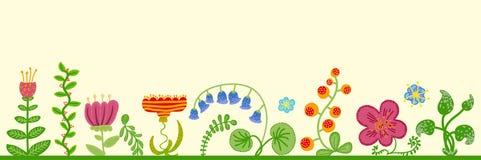 Vektorretro- Blumenhintergrund, Rahmen Stockfotografie