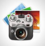 VektorRetro- Kamera und Ikone der Fotos XXL Stockbilder