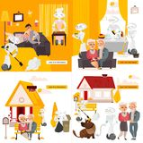 Vektorroboter in Leben infographics Poster eingestellt Lizenzfreie Stockfotos