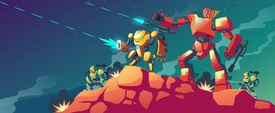 Vektorrobotkriget på den främmande planeten, fördärvar stock illustrationer