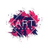 Vektorrombramen med bakgrund för målarfärgborsten och textkonst planlägger Grafiska rosa färger för abstrakt räkning och blåttfär Royaltyfri Fotografi