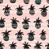 Vektorrosa färger och svart mönstrade bakgrund för modellen för ananaskonturer sömlös vektor illustrationer