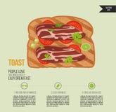 Vektorrostat brödbröd Smörgås med bacon och örter Snabb frukostsymbol Infographic tryck av livsmedelsprodukten vektor illustrationer