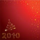 Vektorroter Weihnachtshintergrund mit 2010 Lizenzfreies Stockbild
