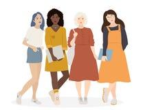 Vektorroup av fyra plana tecknad filmkvinnor som tillsammans står white för bakgrundsfingeravtryckillustration Arkivfoton