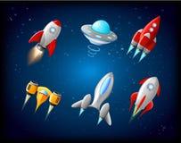 Vektorrymdskeppet och ufovektoruppsättningen i tecknad film utformar Raket och rymdskepp, futuristiskt trans., samlingsskepp royaltyfri illustrationer
