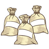 Vektorsäckar av mjöl, socker och saltar Royaltyfri Fotografi