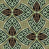 Vektors des grünes Goldnahtloses Muster des dekorativen modernen Griechen 3d Ethnischer Artweinlesehintergrund Geometrische Wiede stock abbildung