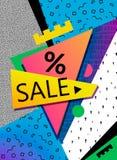 VektorSale baner, affisch, reklamblad Den stora försäljningen, specialt erbjudande, avfärdar vektorillustrationen Retro 90-talsti Arkivfoton