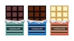 Vektorsamling av öppnad choklad vektor illustrationer