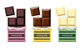 Vektorsamling av öppnad choklad royaltyfri illustrationer