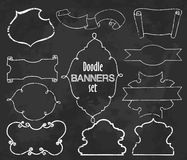Vektorsamling av baner för kritakonturstil, uppsättning två royaltyfri illustrationer