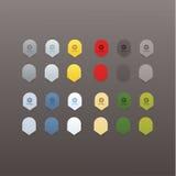 Vektorsamling av colorfully pekare. Ny pekare i nio Vektor Illustrationer